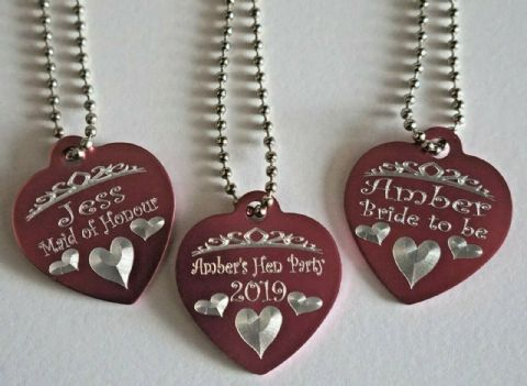 HEN PARTY HEN DO PERSONALISED HEART NECKLACE TAGS ON CHAIN WITH TIARA & HEARTS